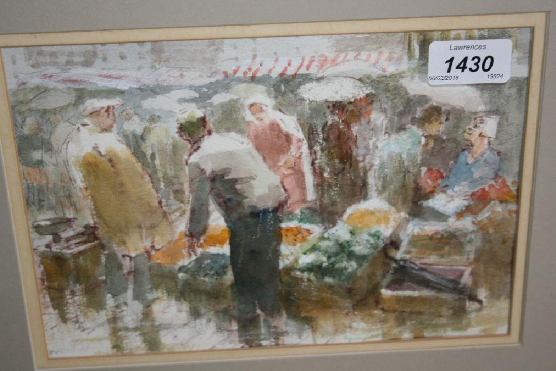 Roland Bachelor, watercolour, ' A Wet Day in Boulogne