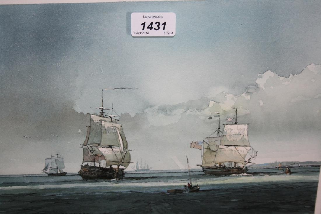 P.J. Ashmore, watercolour, shipping in the Channel,