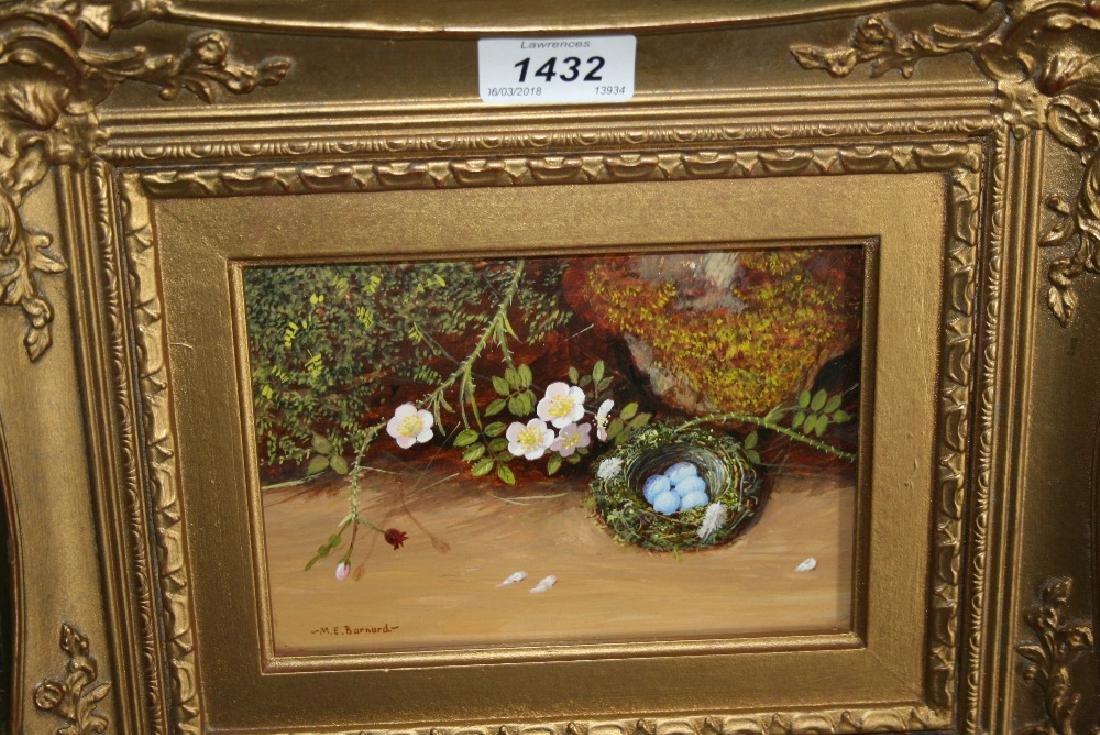 M.E. Barnard, oil on card, still life, birds nest