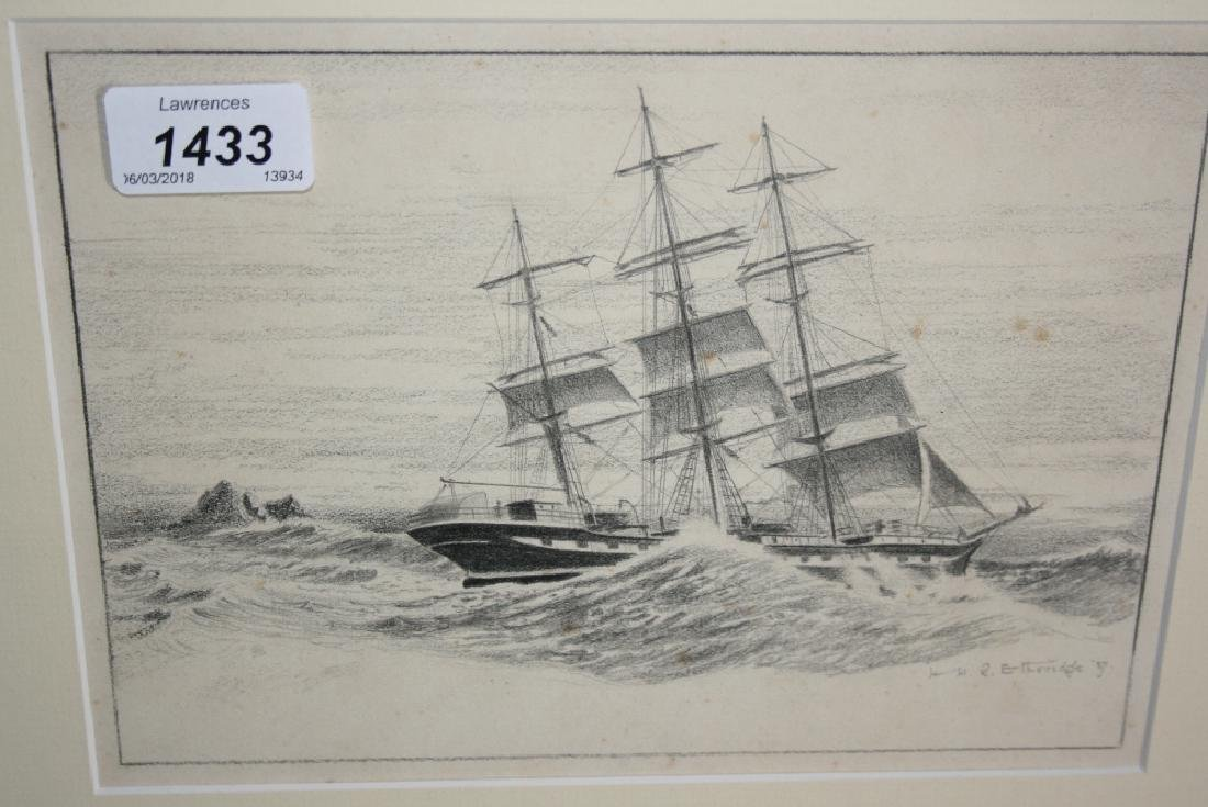 H.H.R. Etheridge, pair of pencil sketches, shipping in