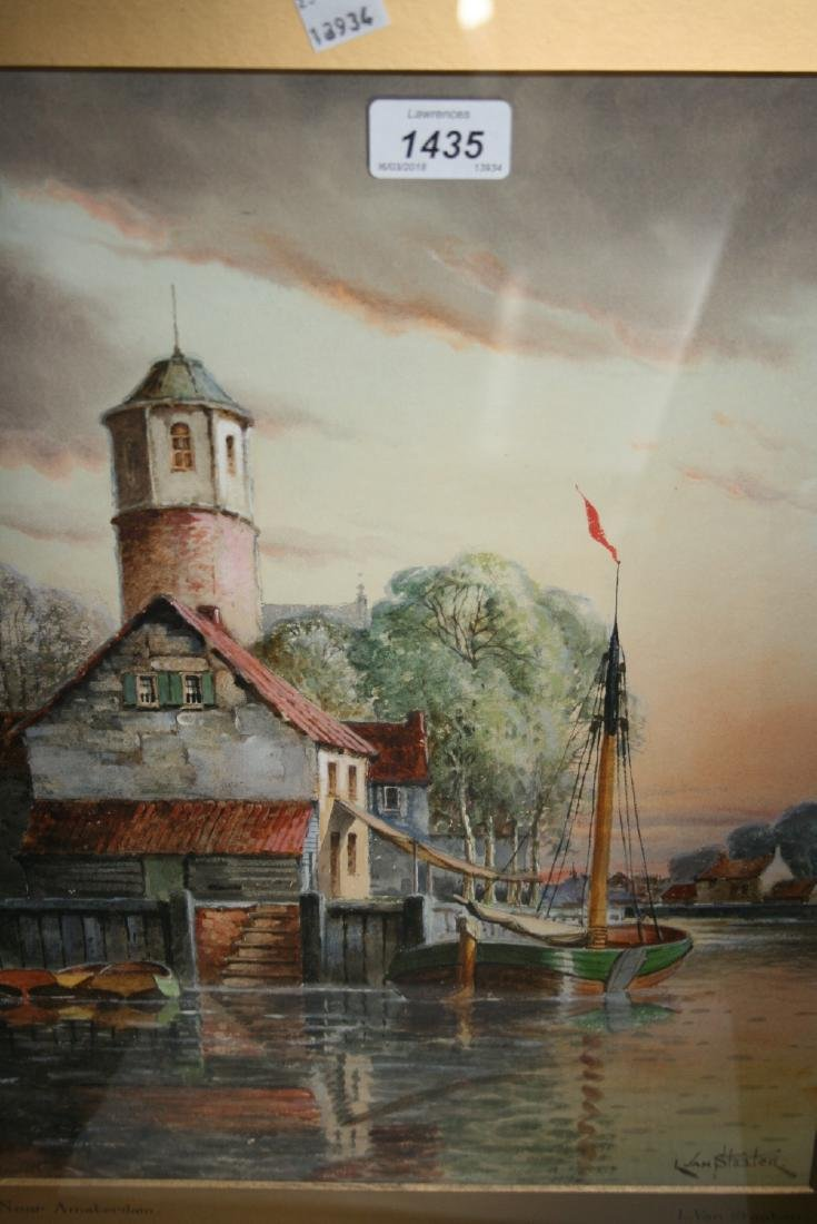 L. Van Staaten, watercolour, moored boat near
