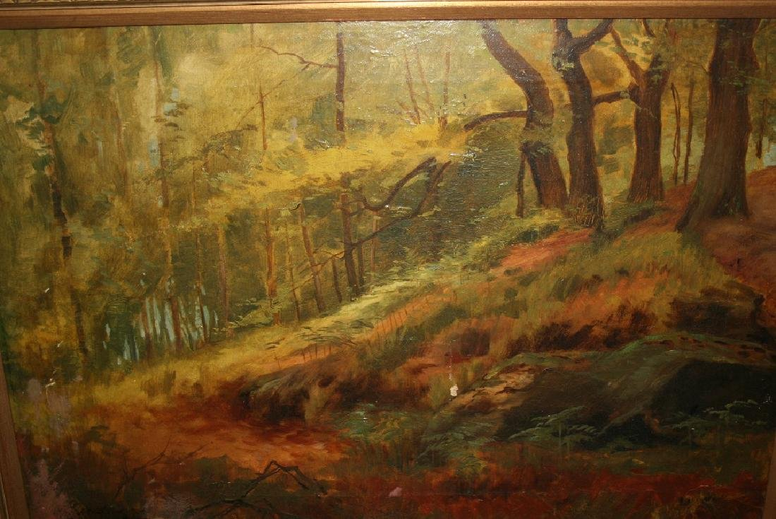 Early 20th Century oil on canvas, forest scene , signed