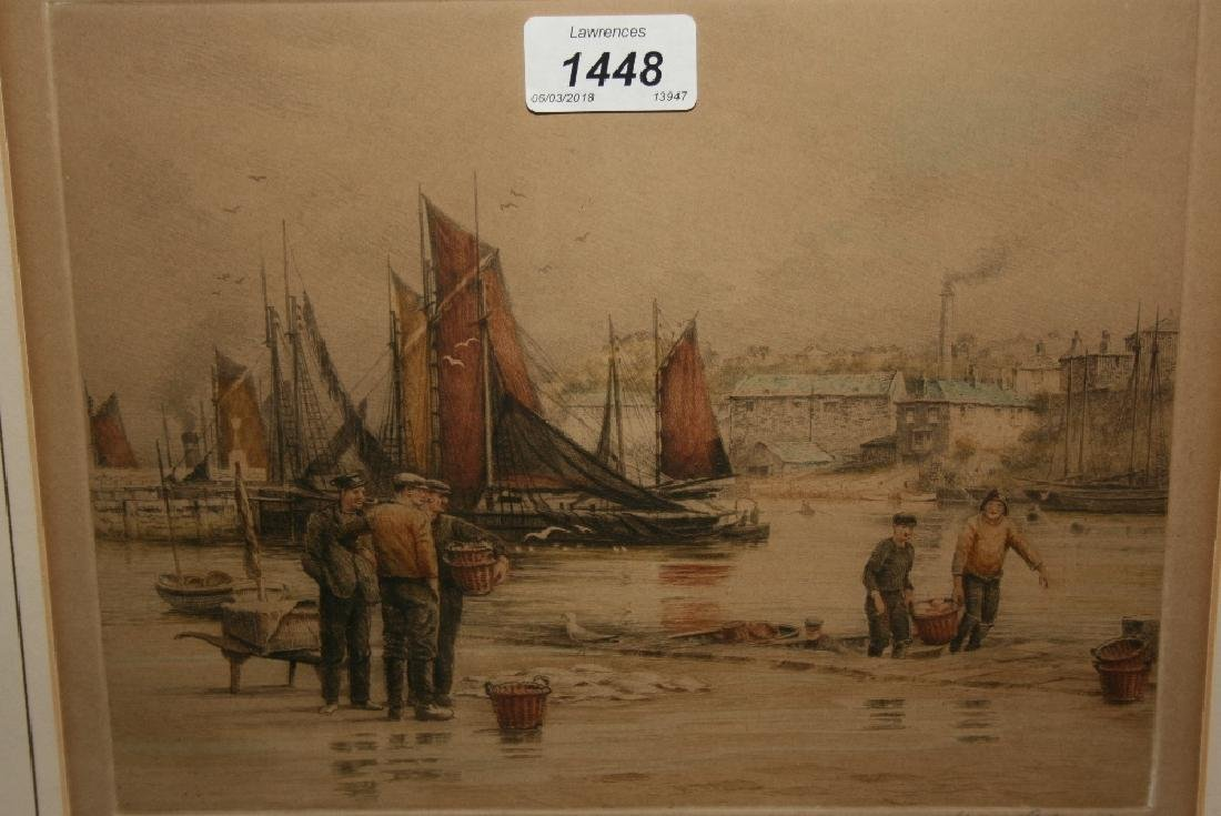 Henry G. Walker, coloured engraving, fishermen with the