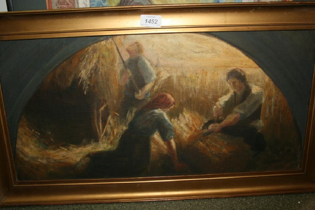 Oil on canvas, study of figures harvesting, inscribed,
