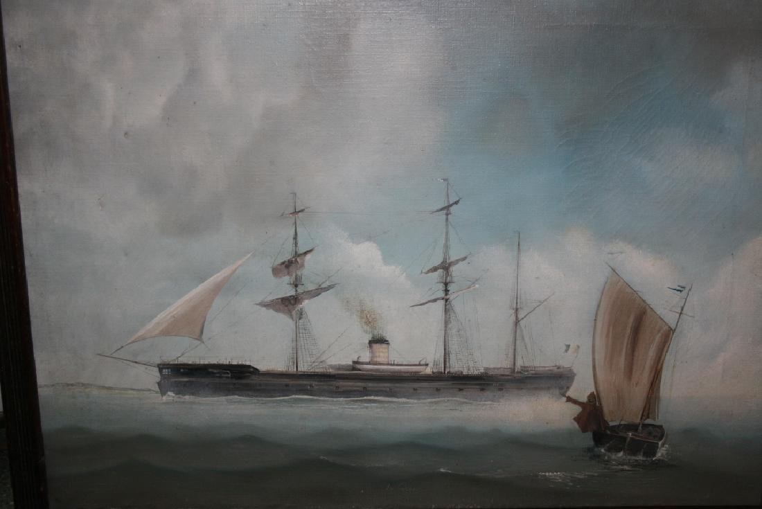 R. Lee, signed oil on canvas, study of the steam ship,