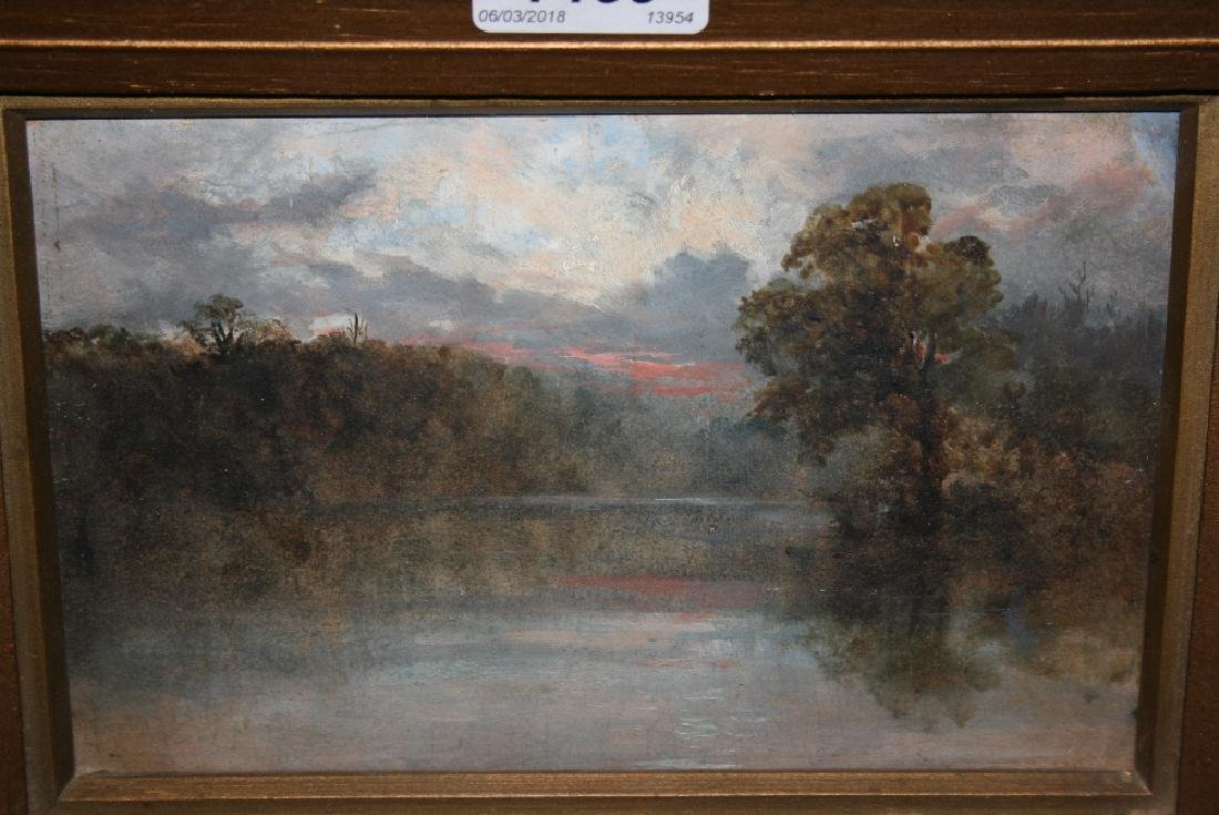 Late 19th Century oil, view across a river landscape at