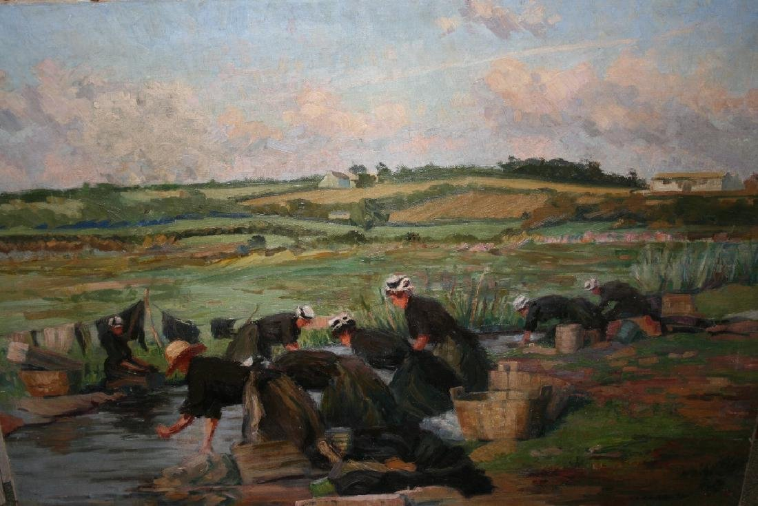 Vera Down, signed oil on canvas, washerwomen by a