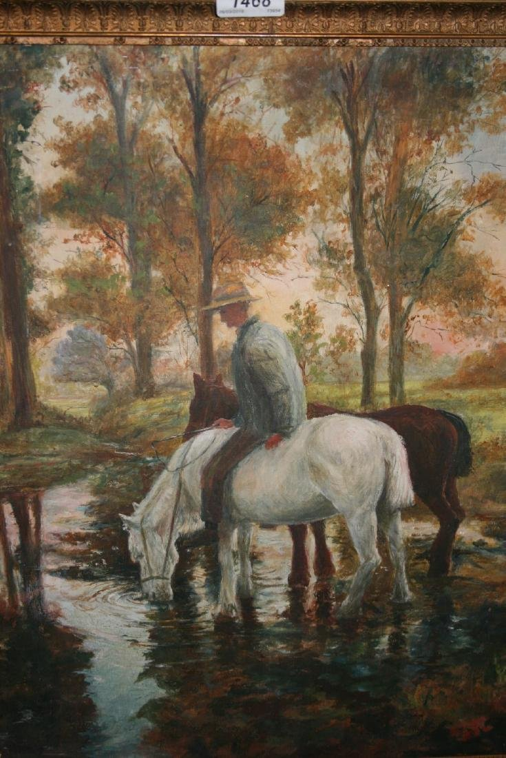 Oil on canvas, figure with horses by a stream, 20ins x
