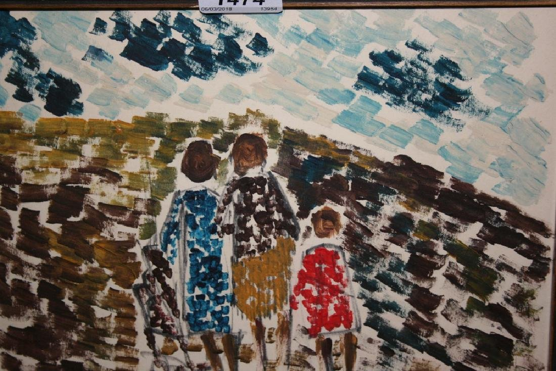 Gouache painting, three figures in a landscape, signed