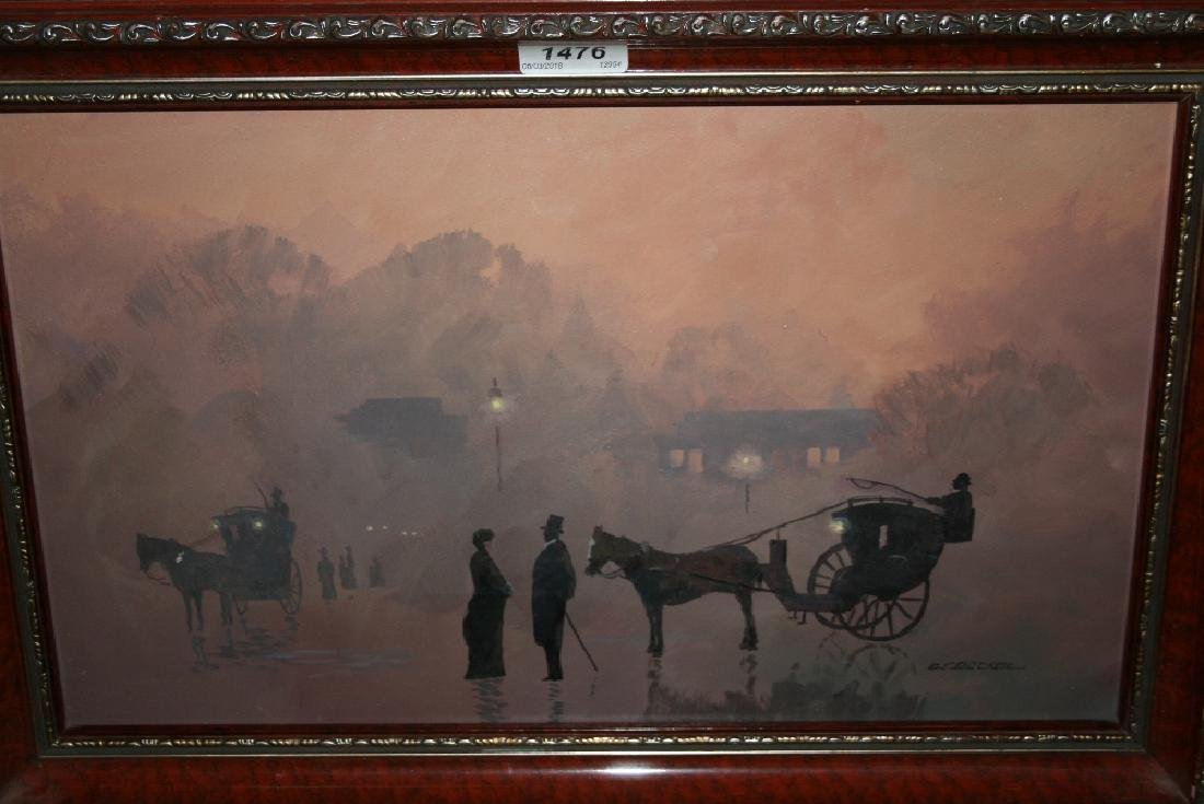 Oil on board, figures and horse drawn carriages in a