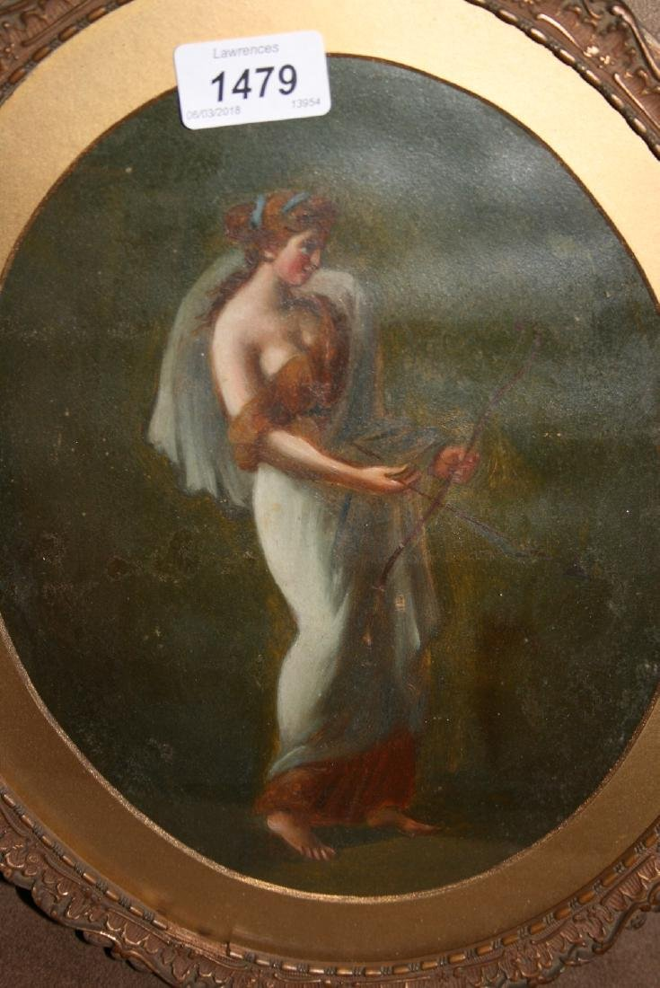 Late 19th Century oil, portrait of a classical maiden,