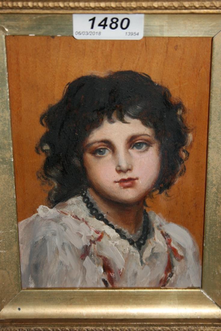 Gilt framed oil on board, head and shoulder portrait of