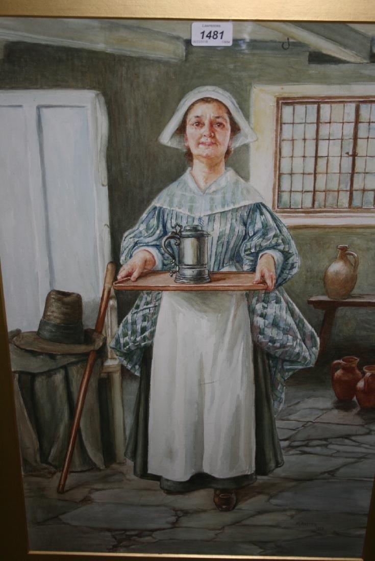 Minnie Asprey signed watercolour, portrait of a house