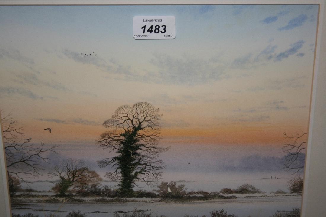 Peter Hayman, watercolour, birds in flight in a sunset