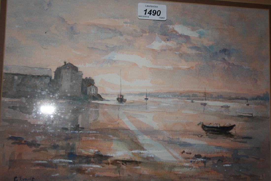 Framed watercolour, puffins in flight, oil on board,