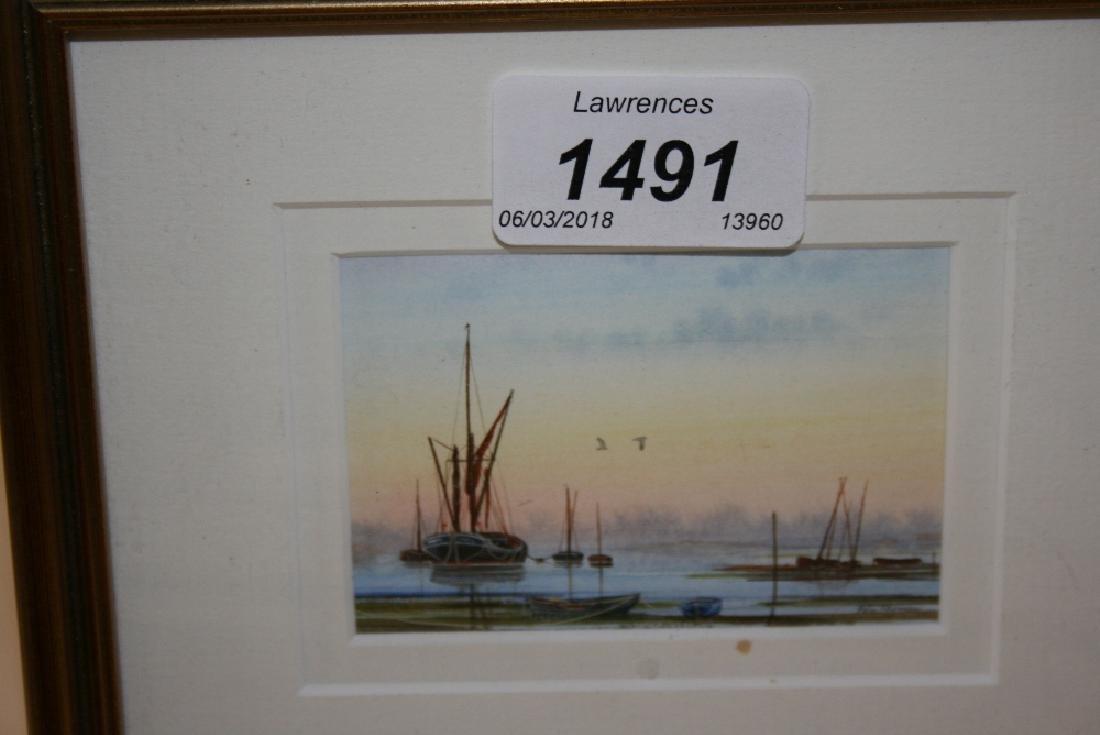 Peter Hayman, miniature framed watercolour, Thames