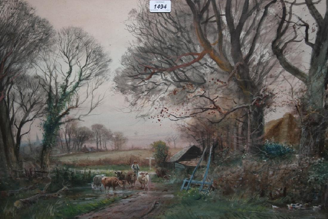 Henry Charles Fox, watercolour, rural scene with cattle
