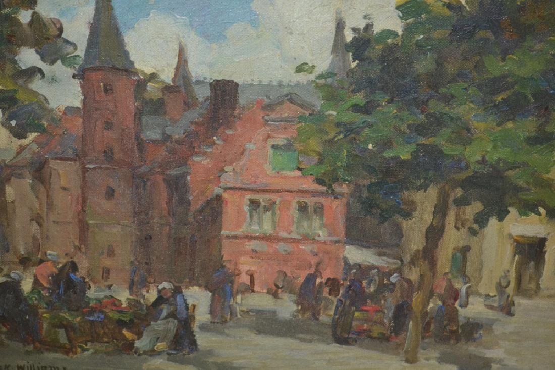 Terrick Williams, oil on canvas, figures at a Breton