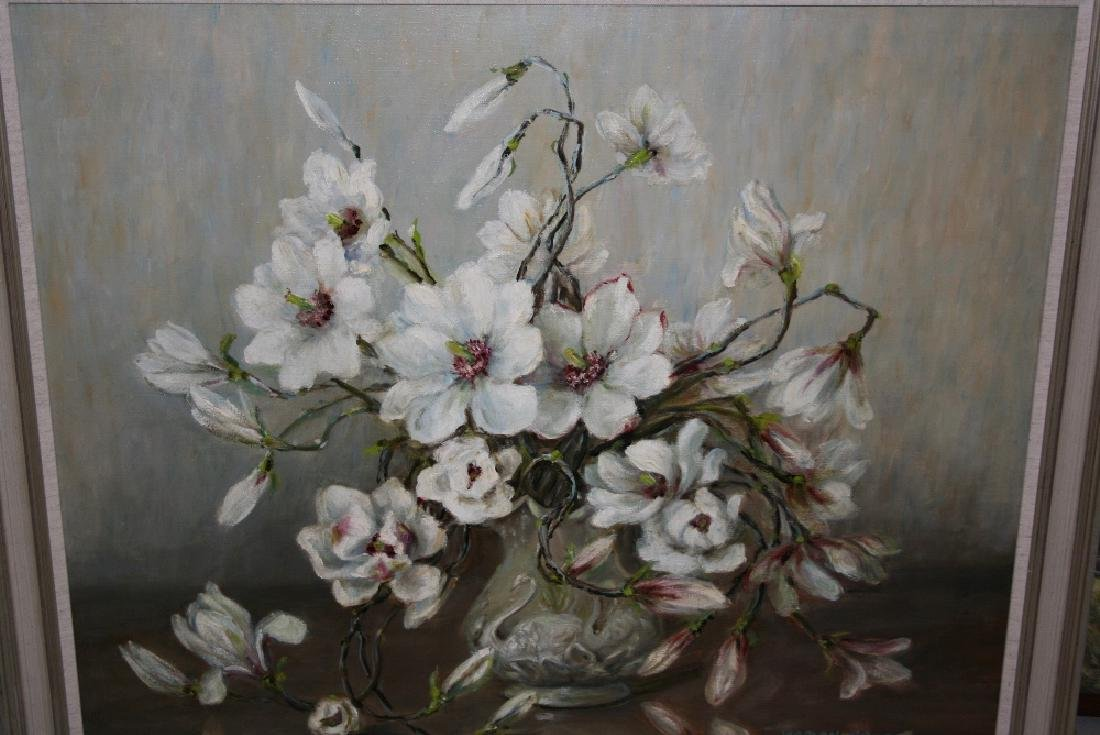Marrion Broom, large oil on canvas, still life of