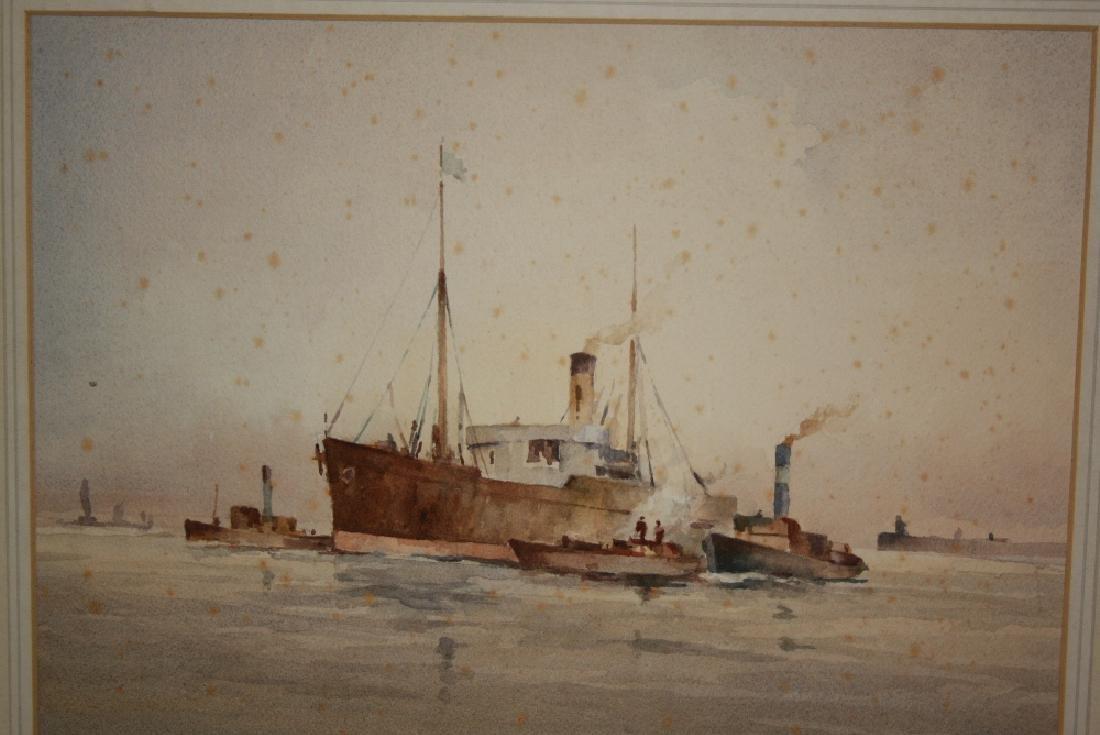 Francis Leke, watercolour, steam ship entering port