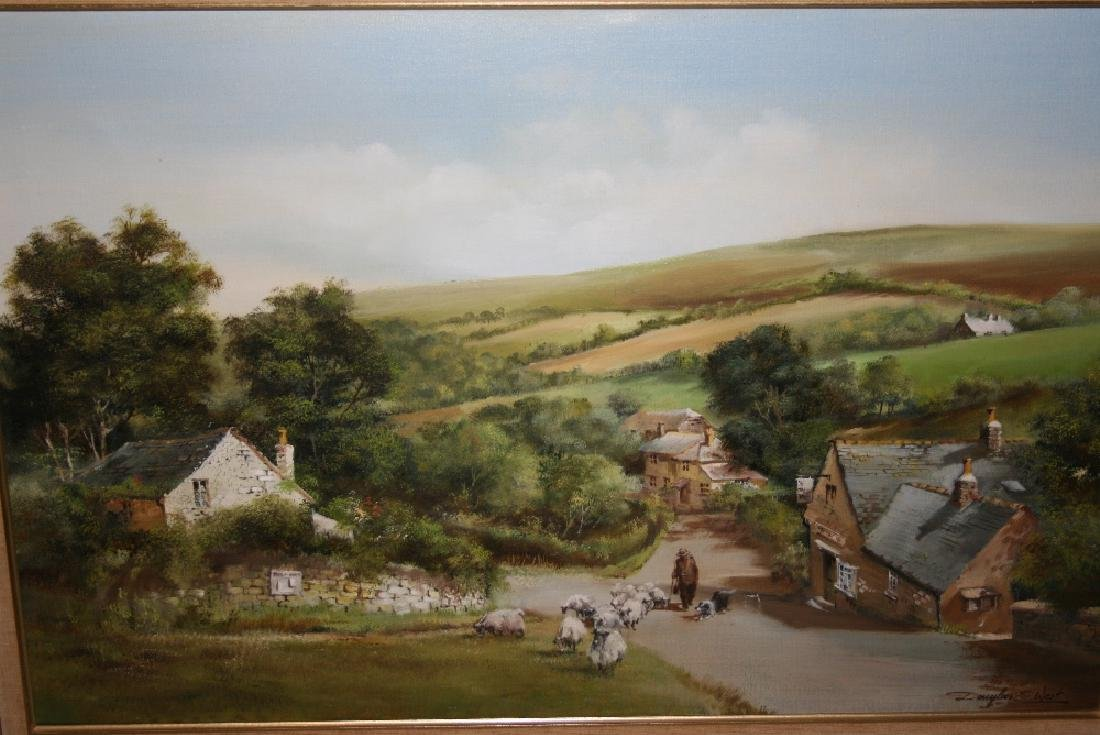 Douglas E. West, oil on canvas, shepherd with sheep on