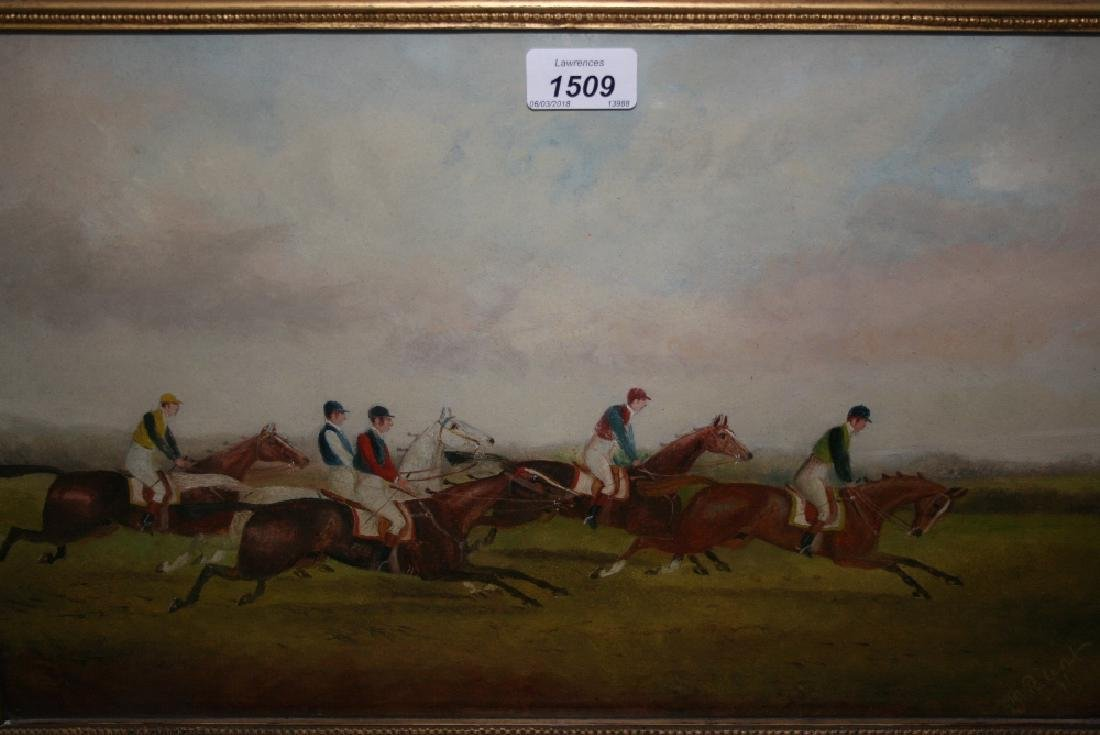 Phillip Rideout, oil on board, jockeys and race horses