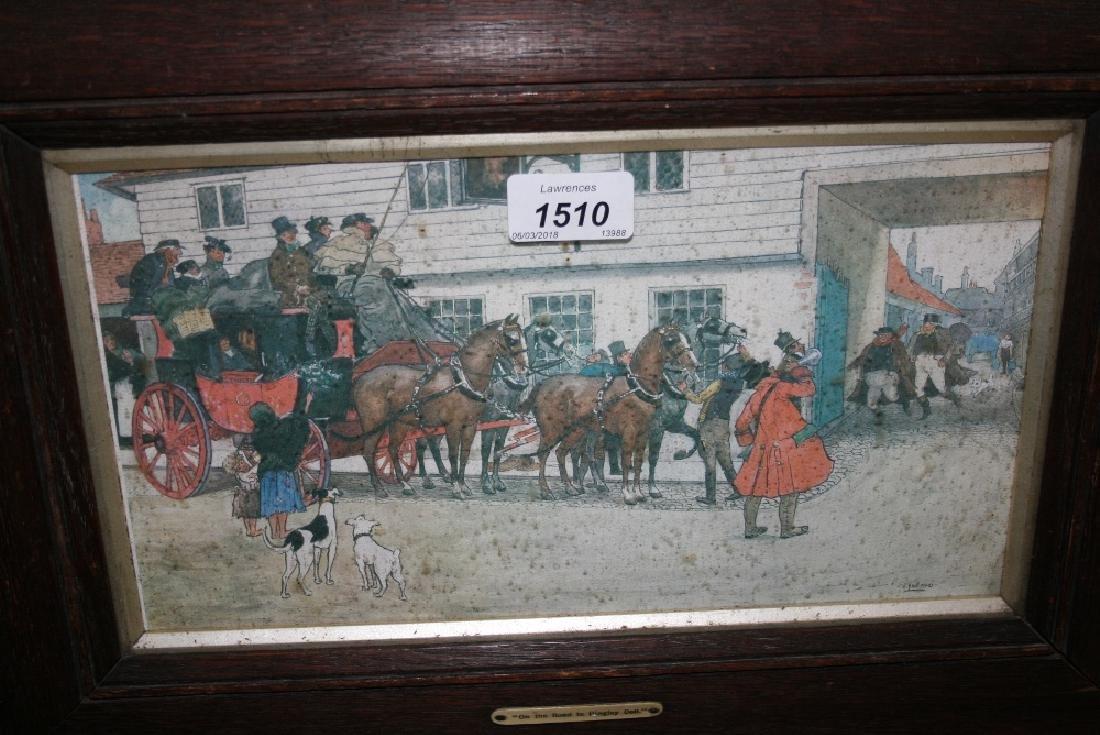 Set of four early 20th Century oak framed coaching