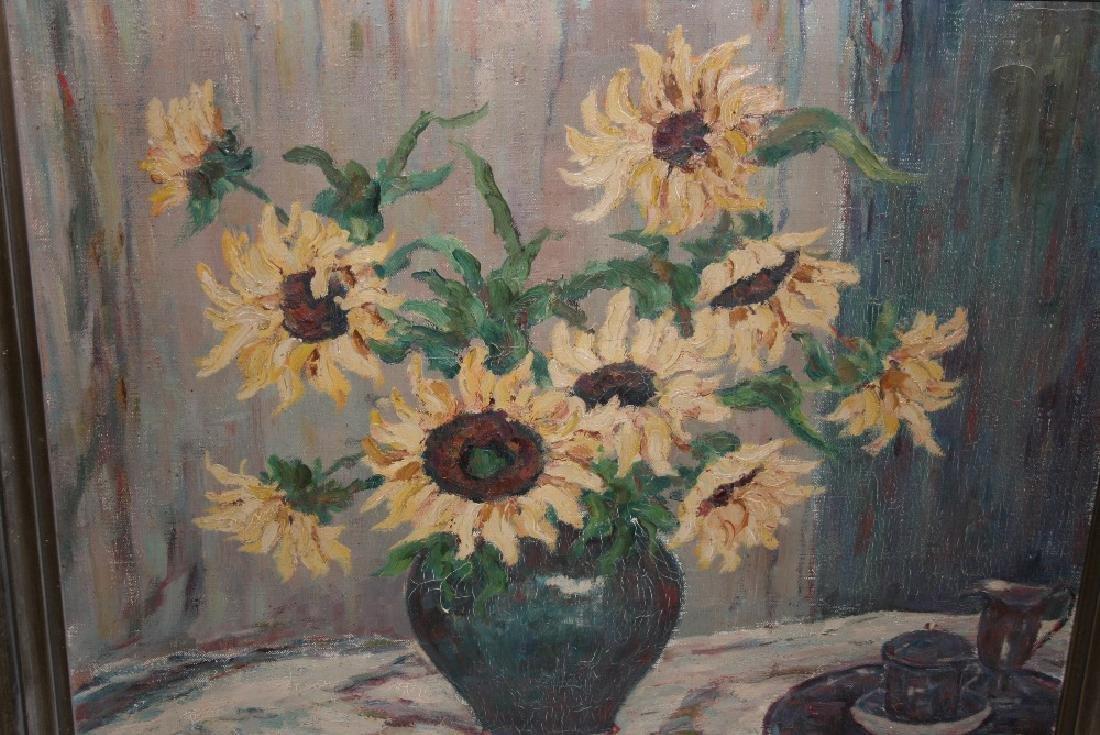 Large 20th Century oil on canvas, still life, vase of