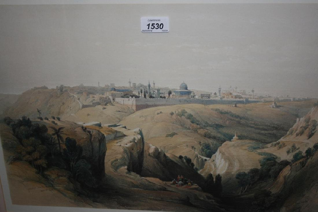 Framed coloured print, view of Jerusalem after David