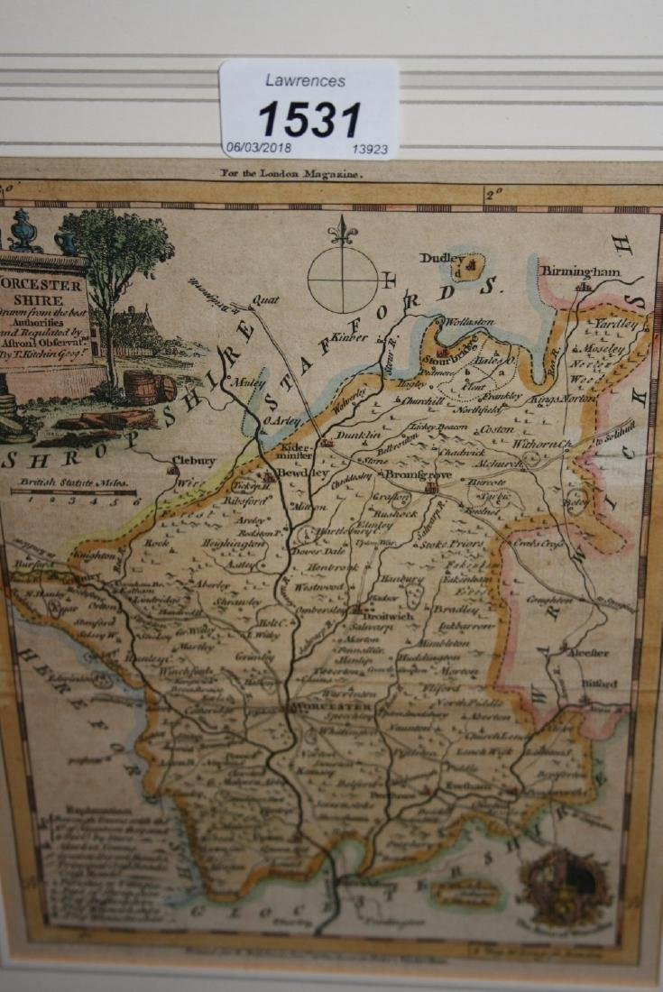 Small framed antique hand coloured map of Worcester by