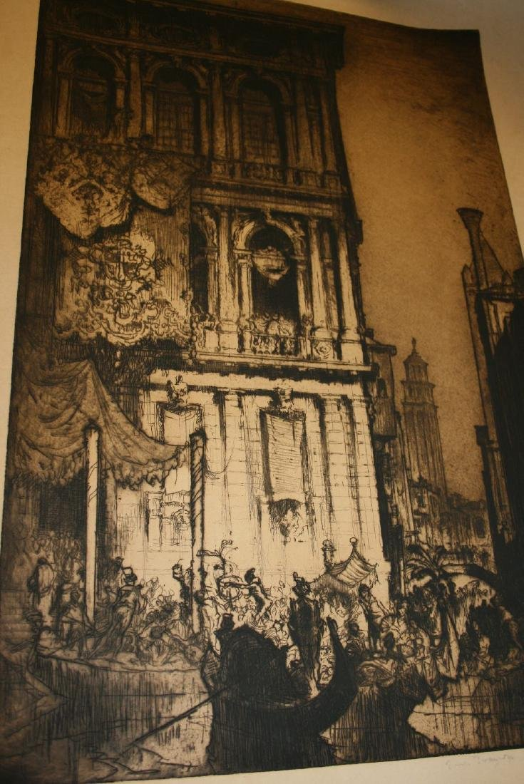 Frank Brangwyn, signed etching, Venice scene with