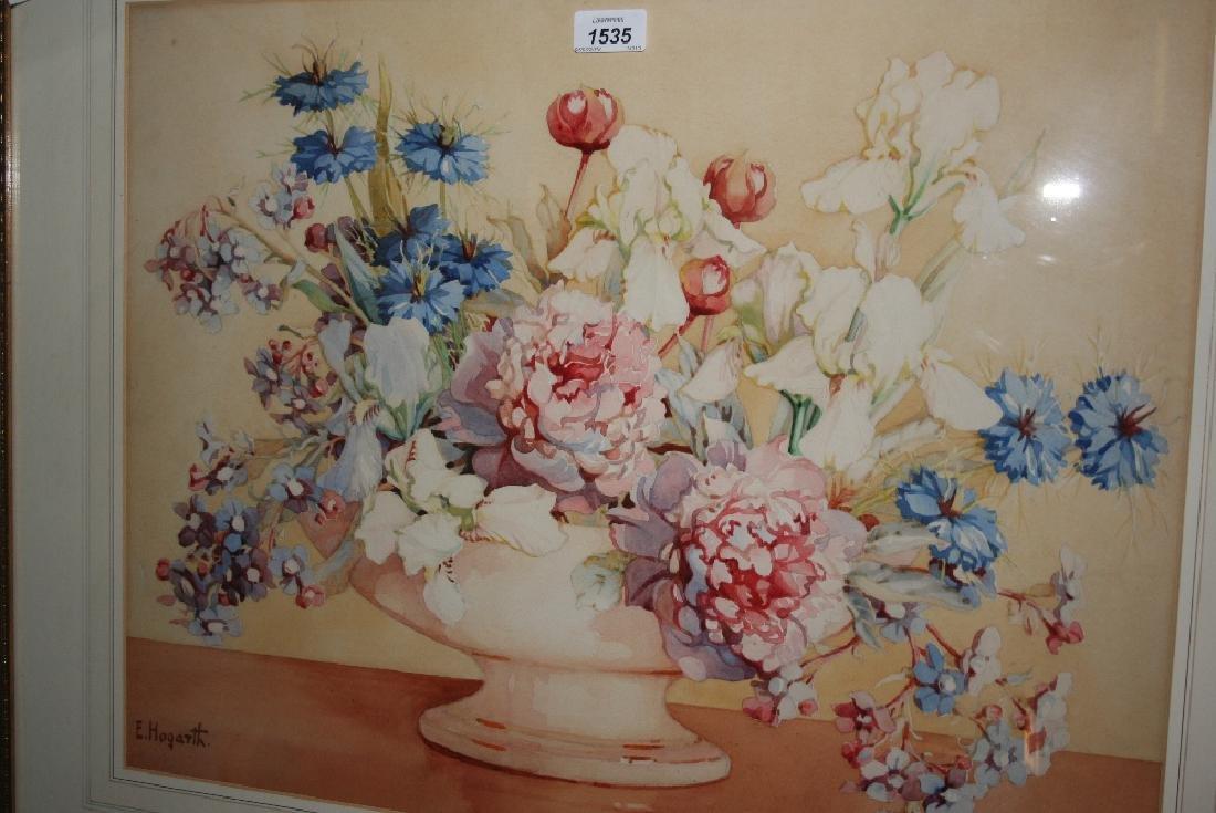 Gilt framed watercolour, still life, vase of flowers,