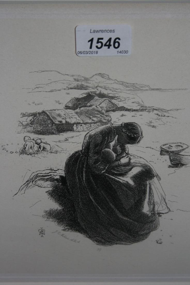 John Everett Millais, etching, ' The Young Mother '