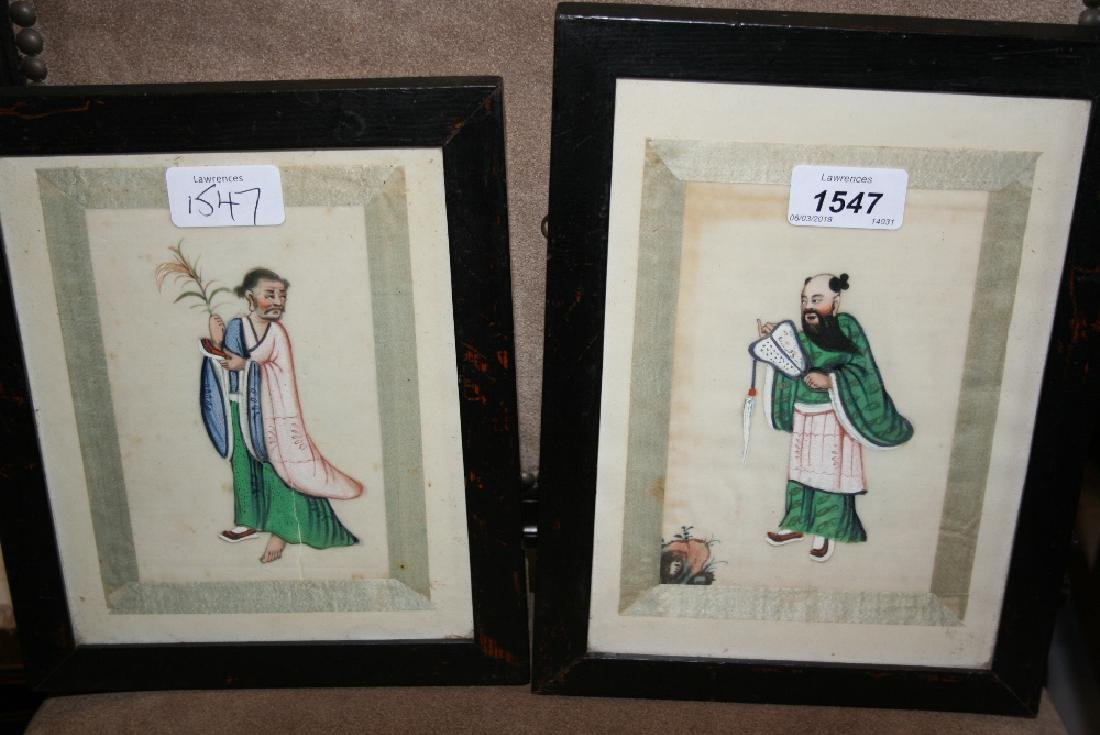 Pair of small framed Chinese paintings on rice paper,