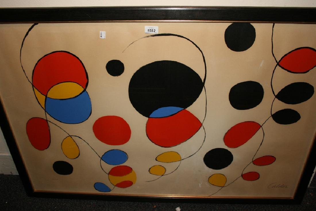 Alexander Calder, artist signed coloured print,