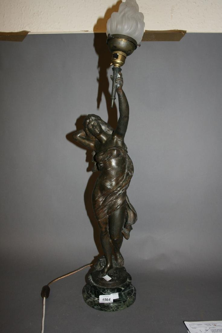 19th or early 20th Century spelter figural table lamp