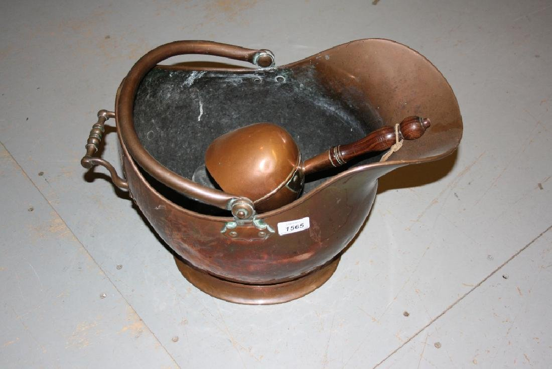 19th Century copper helmet shaped coal scuttle with