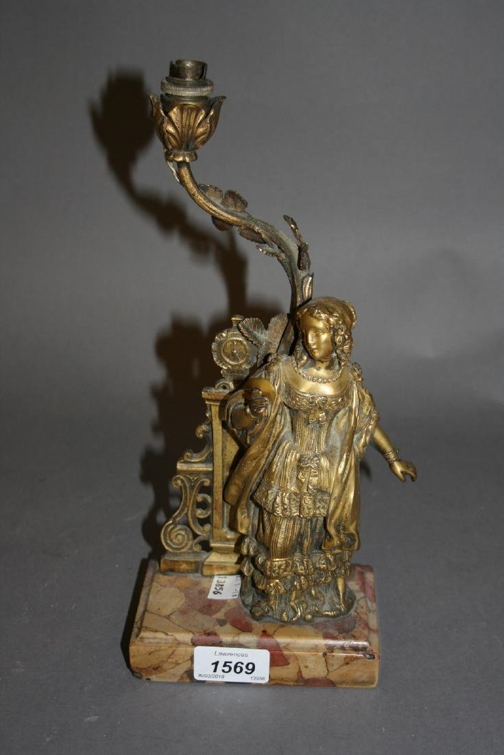 Small 19th Century ormolu and marble table lamp in the