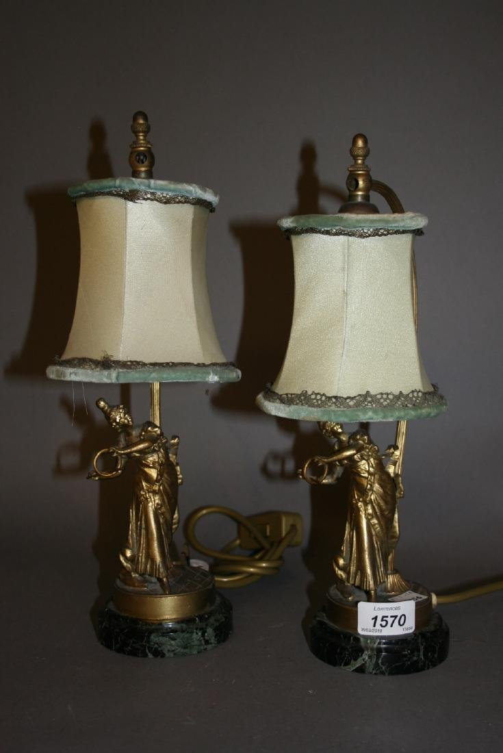 Pair of late 19th or early 20th Century gilt metal