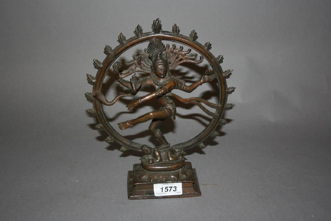 Indian bronze figure of a deity, 9.5ins high