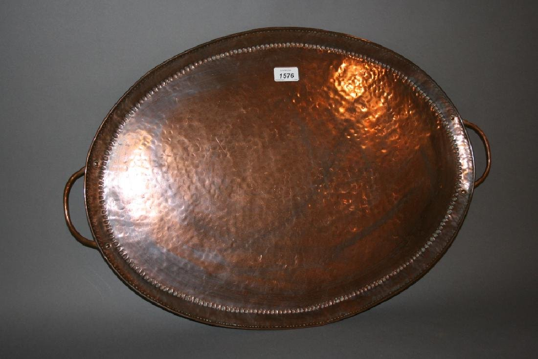 John Pearson, Arts and Crafts oval beaten copper two
