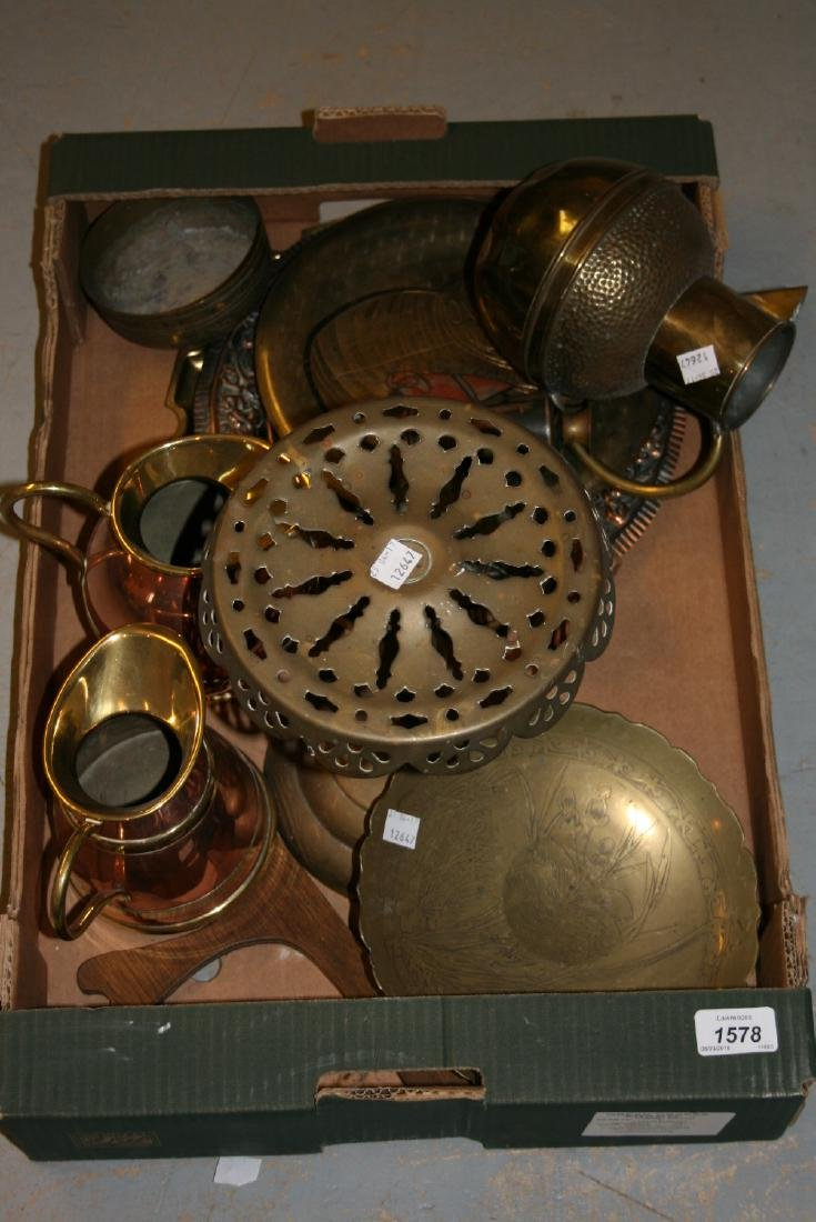 Brass trivit, jug and a quantity of plates / dishes