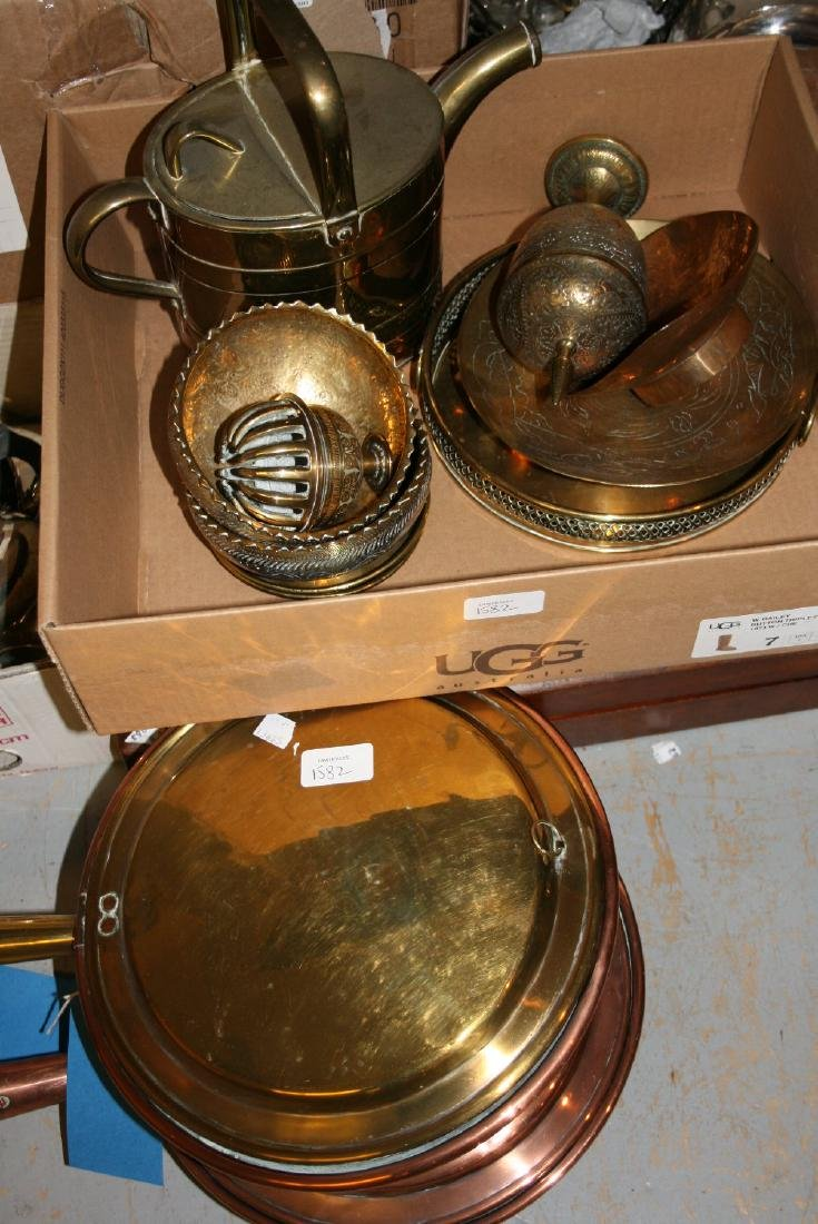 19th Century brass and copper warming pan with turned