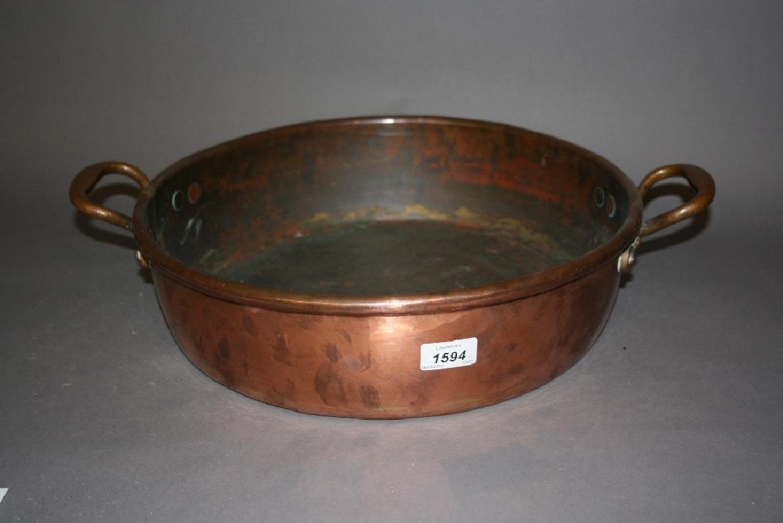 Two handled copper preserve pan