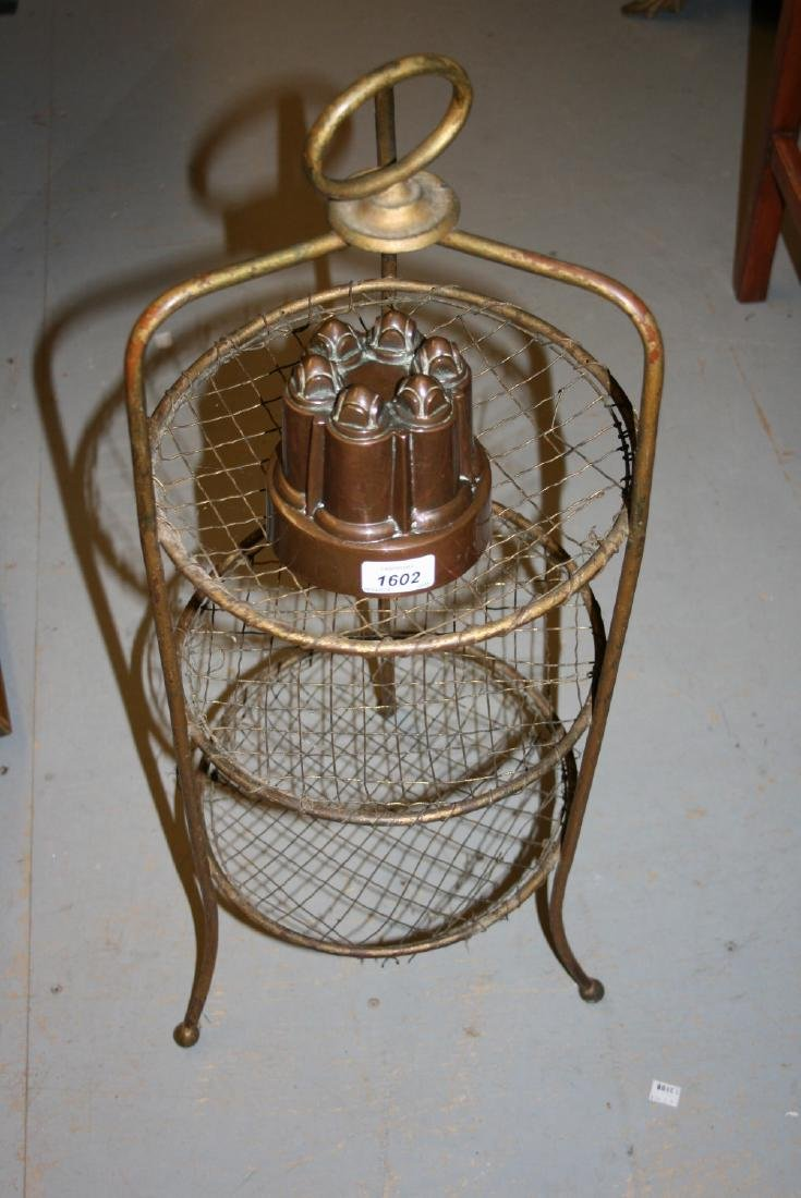 19th Century copper castellated jelly mould and a brass