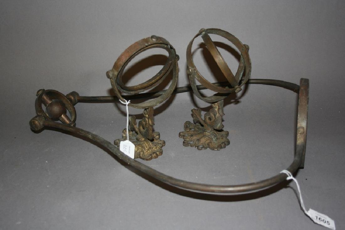Metal hanging lamp bracket together with two gimble