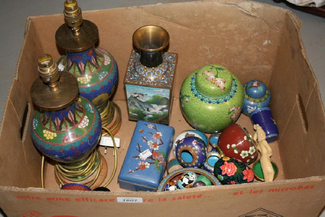 Pair of Chinese cloisonné baluster form table lamps