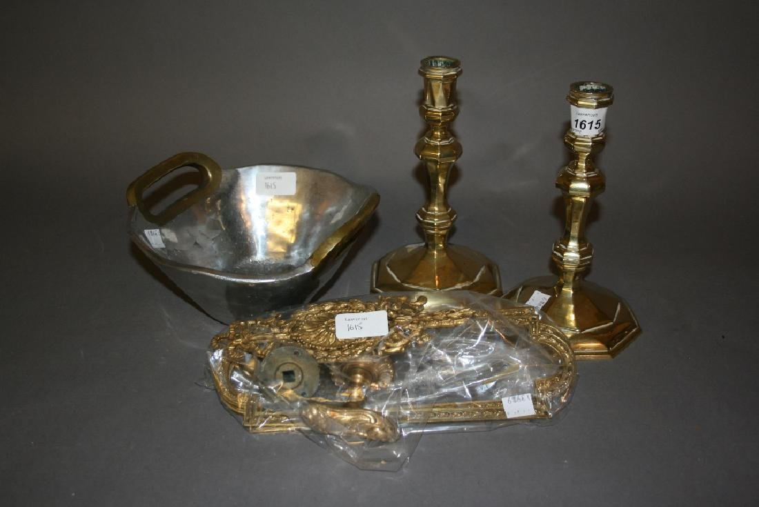Pair of heavy brass knopped stem candlesticks, an