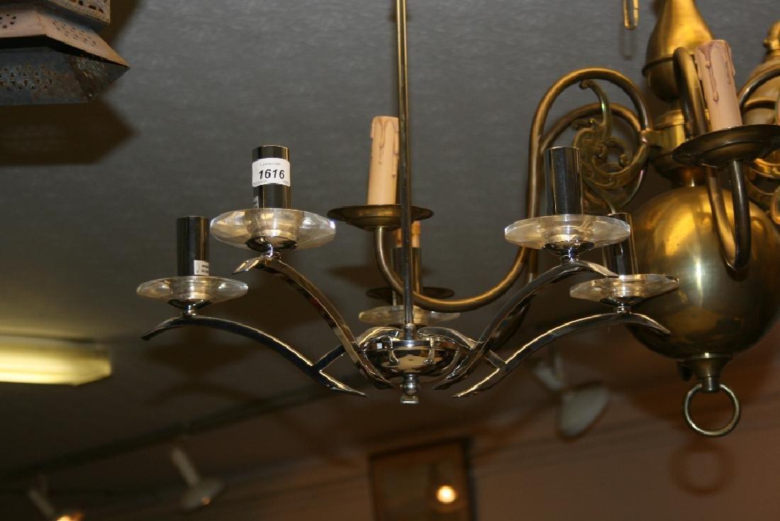 Modern chrome five branch chandelier, wire work basket