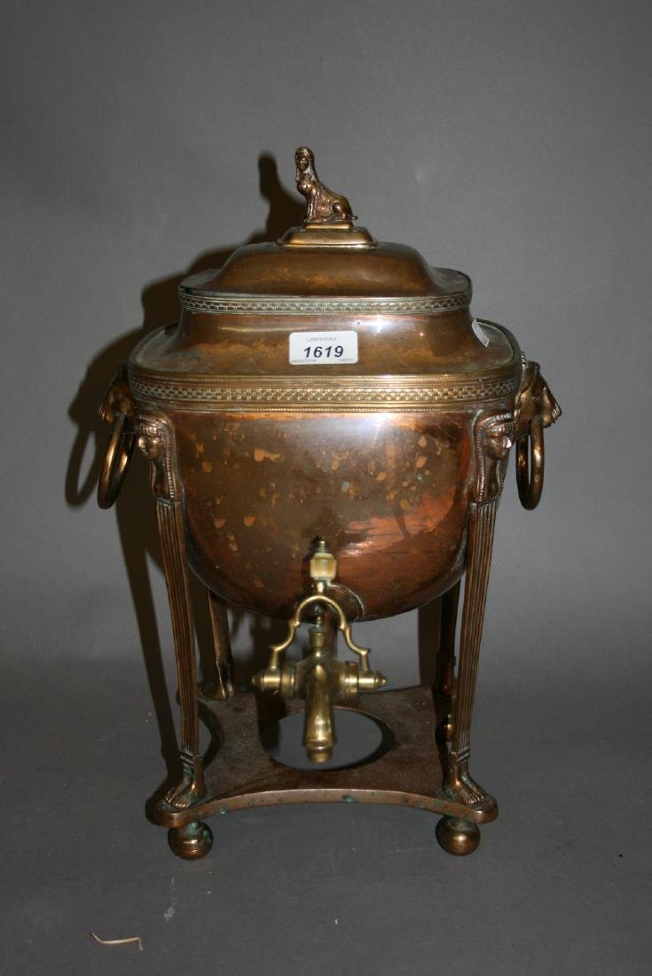19th Century copper and brass samovar with sphinx